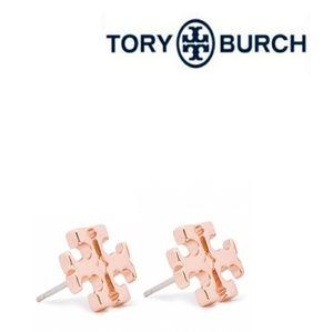 Tory Burch ■ Rose Gold Logo Stud Earrings